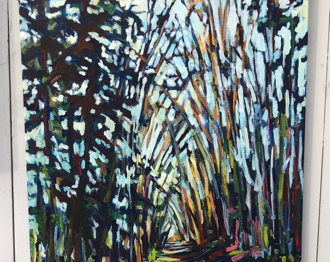 24x36 inch Acrylic tree landscape - Canada - River valley -