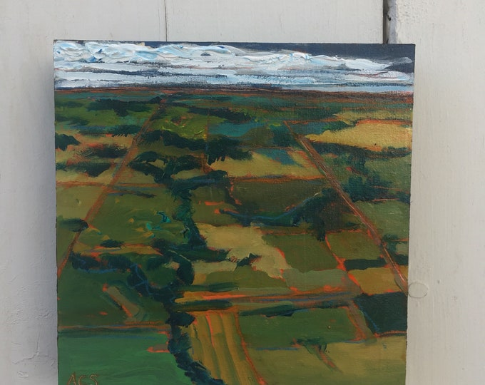 8x8 inch (1-5/8 inch sides) Original Canadian Prairies Landscape painting on birch - 'the whole picture'