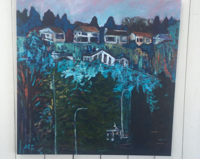 30x30 inch Original Acrylic Landscape Painting on canvas - 'looking back (Ada Boulevard) II'