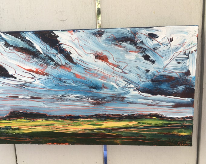 6x12 inch Original Acrylic Alberta Canada Prairies field landscape painting on birch - 'I don't stand still'