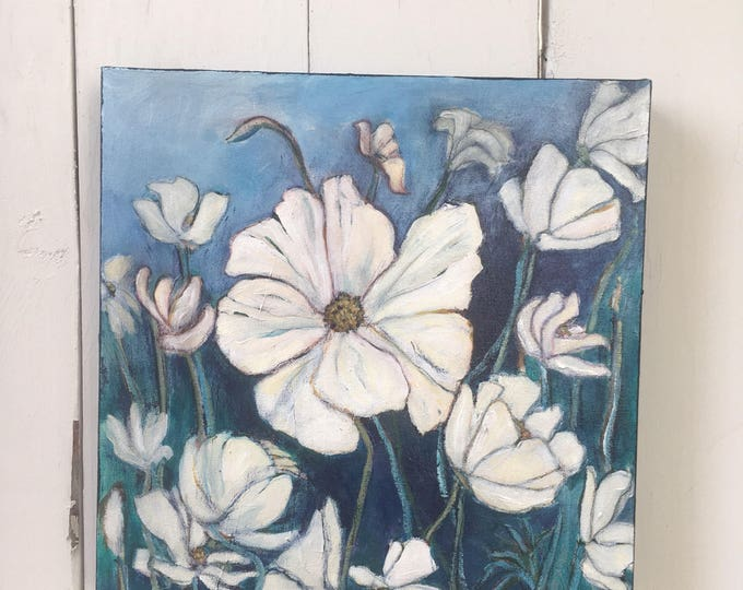12x12 inch Original Acrylic Beautiful White Floral // Flowers Painting on canvas (ready to hang) - 'wherever the wind blows'