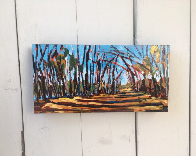 6x12 inch (1-5/8 inch) Original Acrylic Alberta Canada River trail off leash nature tree Landscape Painting on birch - 'waiting'