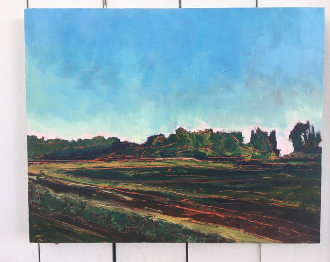 16x20 inch Original Acrylic Alberta Canada Prairie field sunset Landscape painting on birch - 'I like to think I could go back'