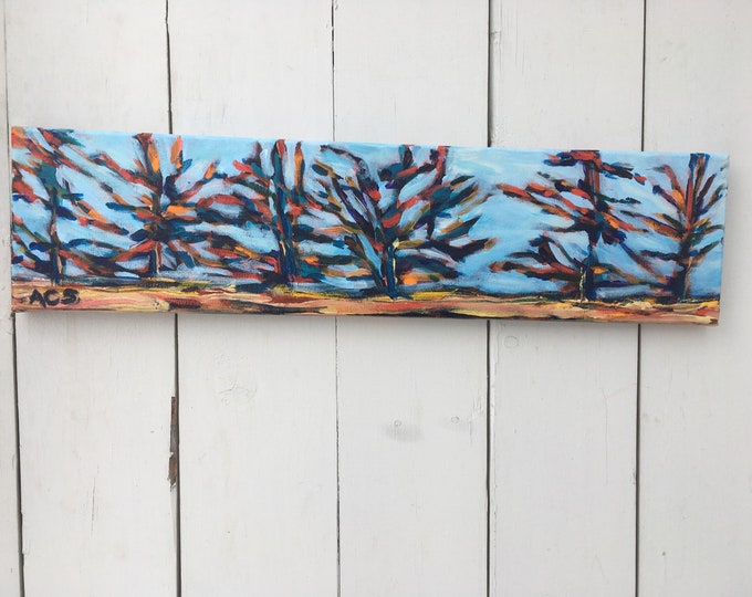 6x24 inch Original Acrylic Landscape Tree Painting on Canvas (ready to hang) - 'wild and free'