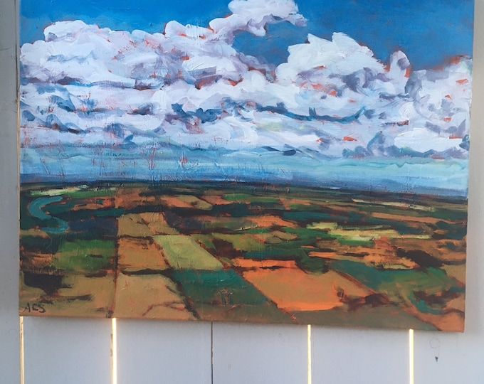 18X24 inch Original Acrylic Painting on canvas / Aerial / field / Prairie / Nature landscape - 'high above'