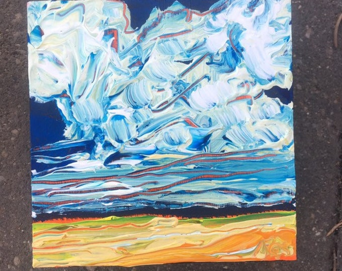4x4 inch Acrylic landscape painting - 'from afar'