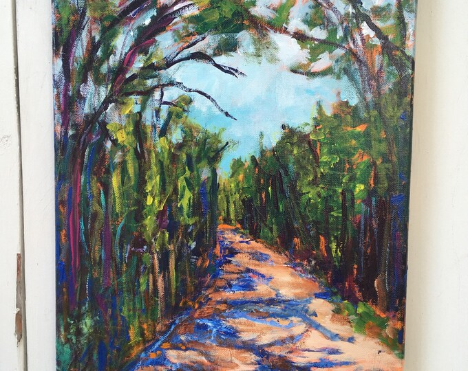 12x16 inch Original Acrylic River valley Edmonton Alberta Canada landscape on canvas // tree lined trail - 'off leash and loving it'