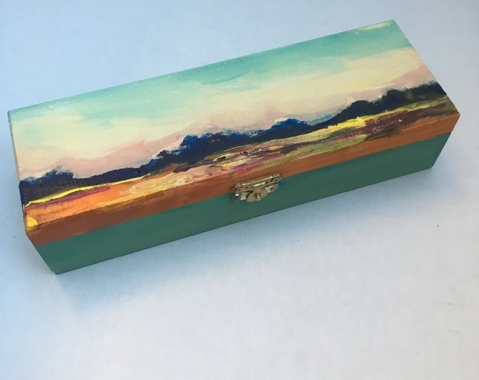 Original Artwork - hand painted - Jewelry box - 22 cm x 7 cm x 7.3 cm // landscape // field // Canadian // prairies -  'In the distance'