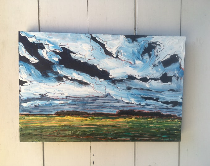 12x18 inch Original Acrylic Canada Prairie Field Landscape Painting on birch - 'You are all I really know'