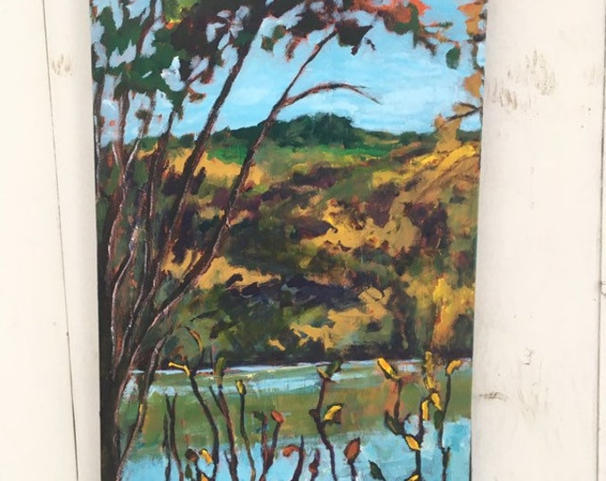 15x30 inch original acrylic Edmonton Alberta Canada river valley landscape painting on canvas/ river / home / trees - 'I heard it too'