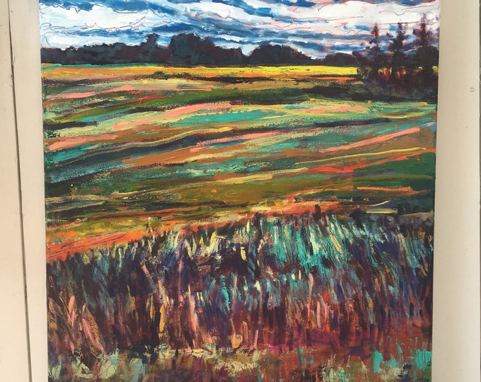 22x28 inch Original Acrylic Canada Prairie Field Landscape painting on gallery wrap canvas - 'how it feels'