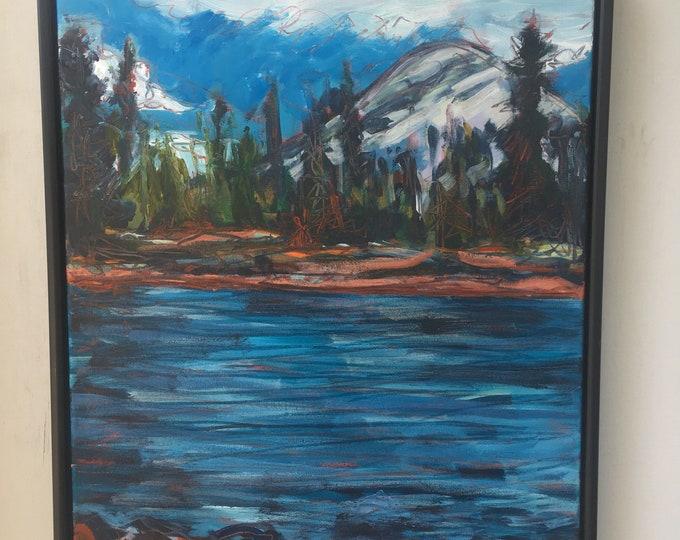 18x24 inch Original Acrylic Snaring River Jasper Alberta Landscspe on canvas - 'skipping stones along Snaring River'