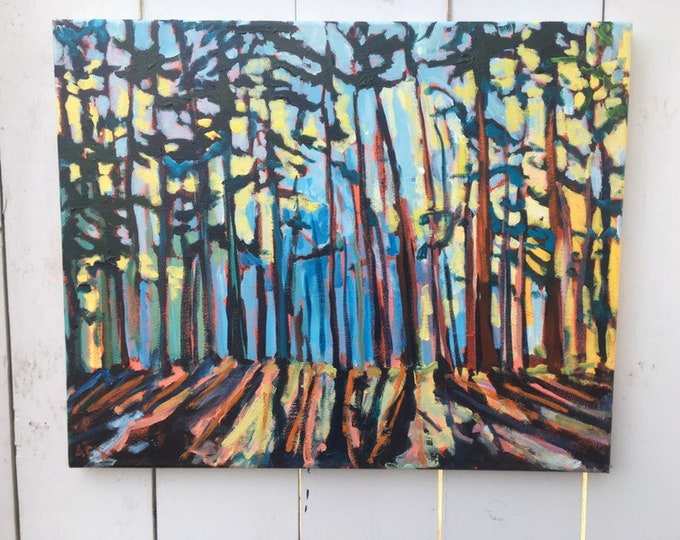 16x20 inch Original Tree Trail Forest Landscape moment painting on canvas - 'she took me there'