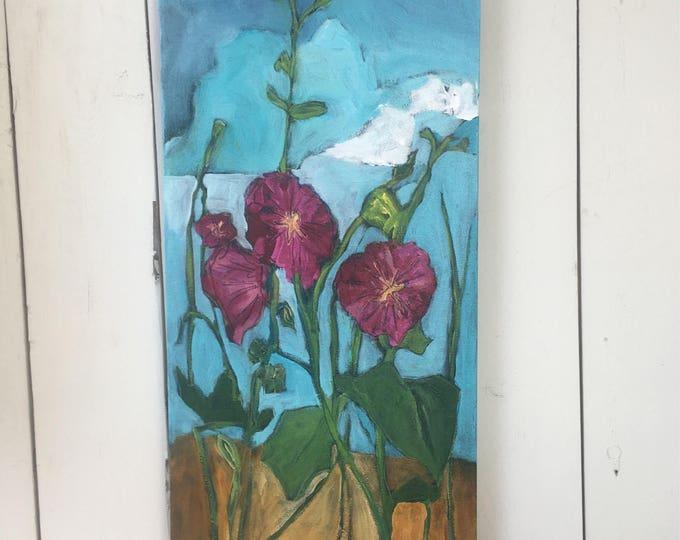 12x24 inch Floral Original Painting on canvas by Alberta Artist Angela Stadlwieser - 'Lost in summer day dreams' (Hollyhock flowers)