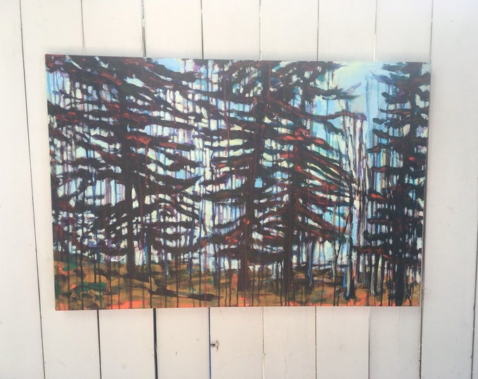 24x36 inch Original Acrylic Canadian Tree Landscape Painting on canvas - 'you carry me through'