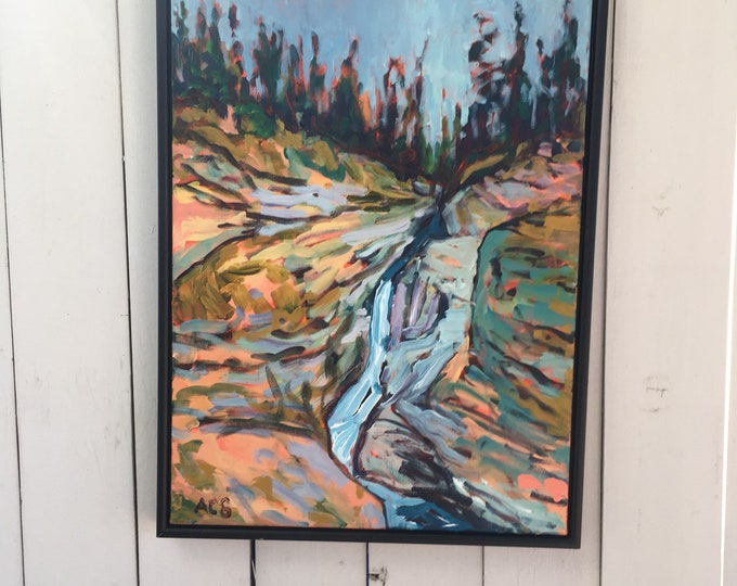 18x24 inch Original Acrylic Jasper Alberta Maligne Canyon Mountain Waterfall Landscape on canvas - 'alive inside'