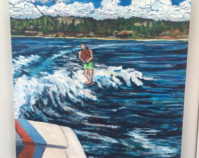 SALE - 30x30 inch Original Acrylic Lake // Water Ski // Boat // Summer Canada Landscape Art Painting on canvas - 'From here'