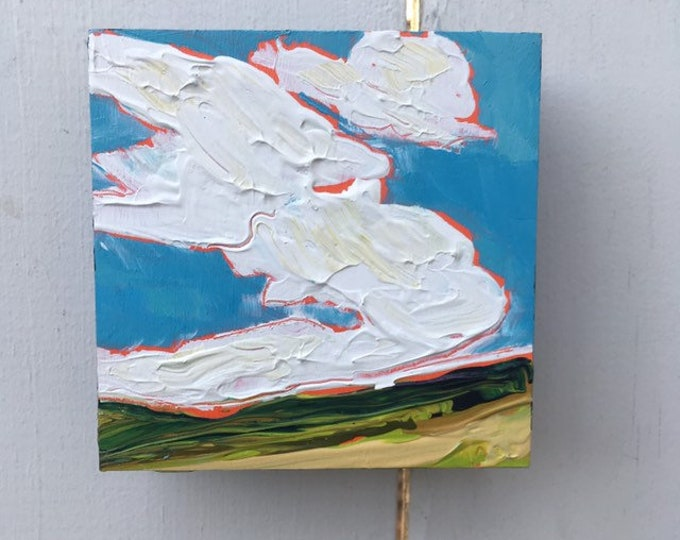 4x4 inch Original Acrylic Prairie Sky Landscape painting on Birch - 'Let's go away'
