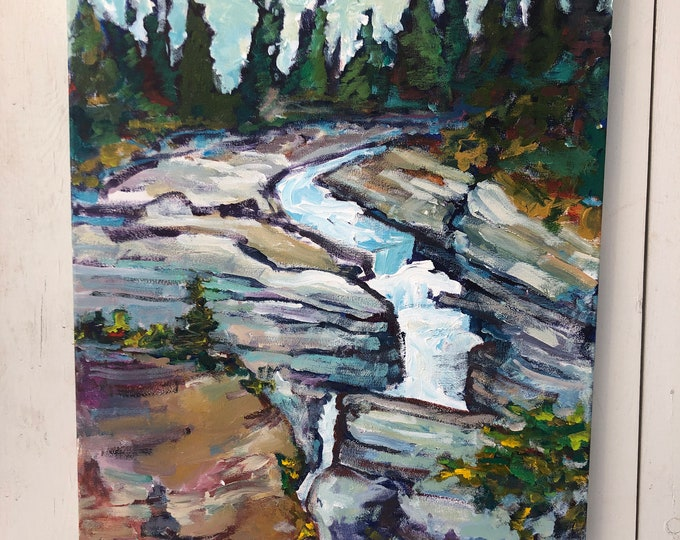 16x20 inch Acrylic Canadian Painting on Canvas - Jasper Maligne Canyon - from the trail