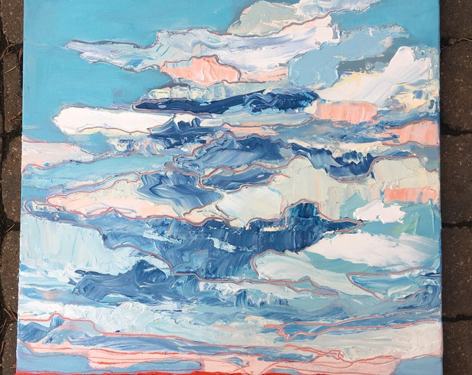 20x20 inch Original Alberta Landscape Sky Painting on canvas (ready to hang) - 'Together'