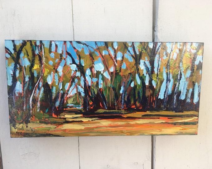 6x12 inch Original Acrylic Alberta Canada Nature Trail Tree Landscape Painting on birch - 'full of life'