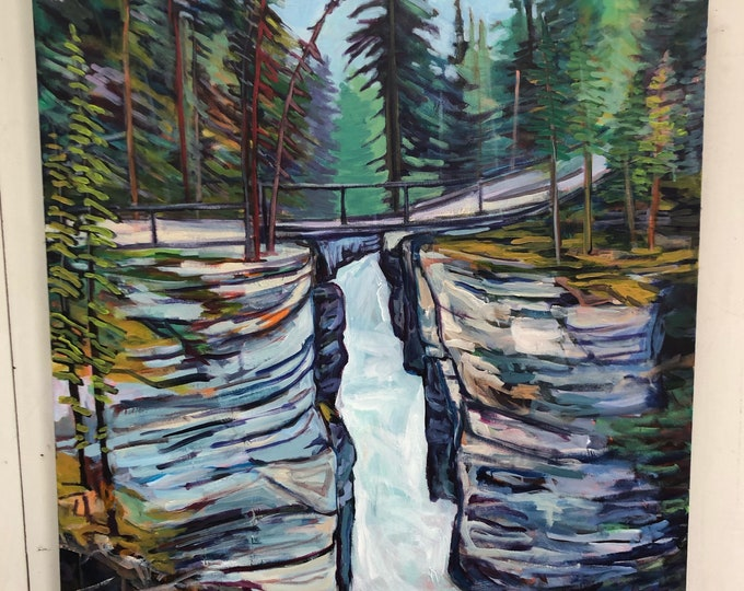 Original landscape Painting - Jasper - Maligne Canyon - 36x36 inch - When you need me