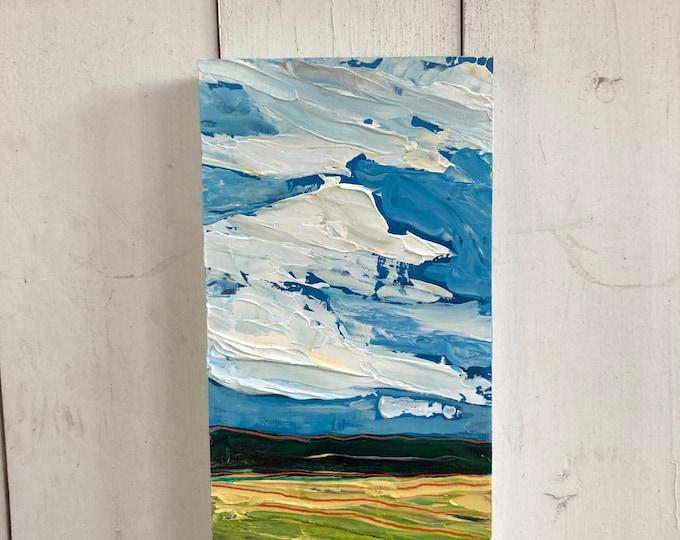 Original Prairie Landscape Painting - 6x12 inch -