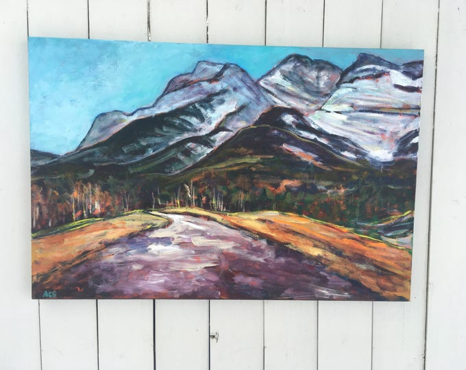 24x36 inch Original Acrylic Alberta Canada Mountains Landscape Painting on canvas (ready to hang) - 'Looking Up'