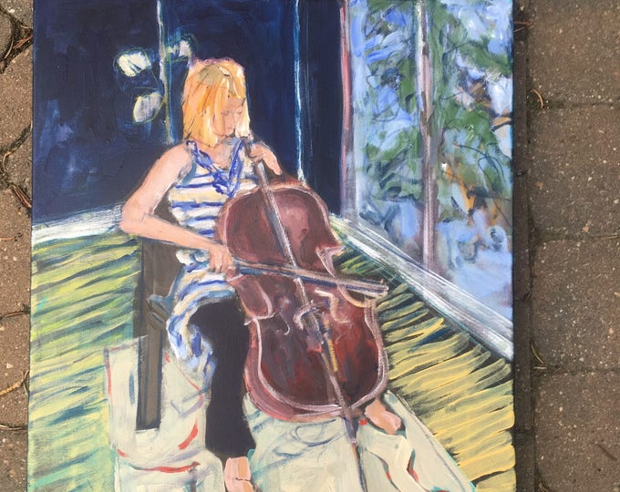 16x20 inch Original Acrylic Figurative Music Instrument (cello) Painting on Canvas (ready to hang) - 'Allegro'
