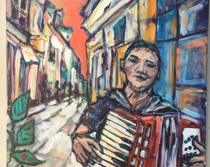 20x20 inch Original Acrylic Figurative Musical Instrument Accordion Painting on canvas (ready to hang) - 'Big dreams'