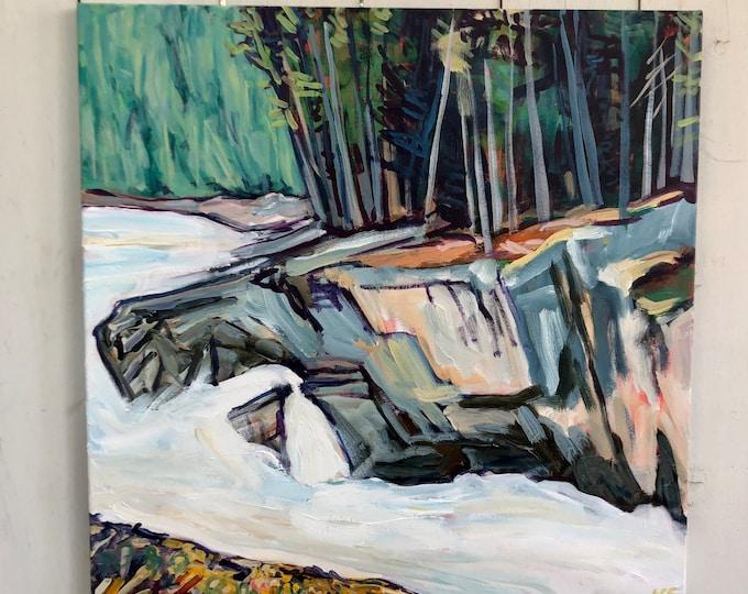 Original Landscape Painting - 24x24 inch - Sunwapta Fall - Jasper - Full of possibilities