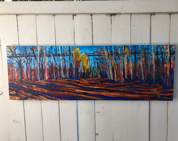 16x48 inch (1-5/8 deep sides) Original Acrylic Edmonton Alberta River Valley Tree lined Landscape on Canvas - 'where the heart travel