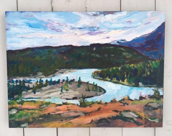 18x24 inch on Birch // Jasper Alberta Canada Landscape // Trees // Mountains - 'Alive here'
