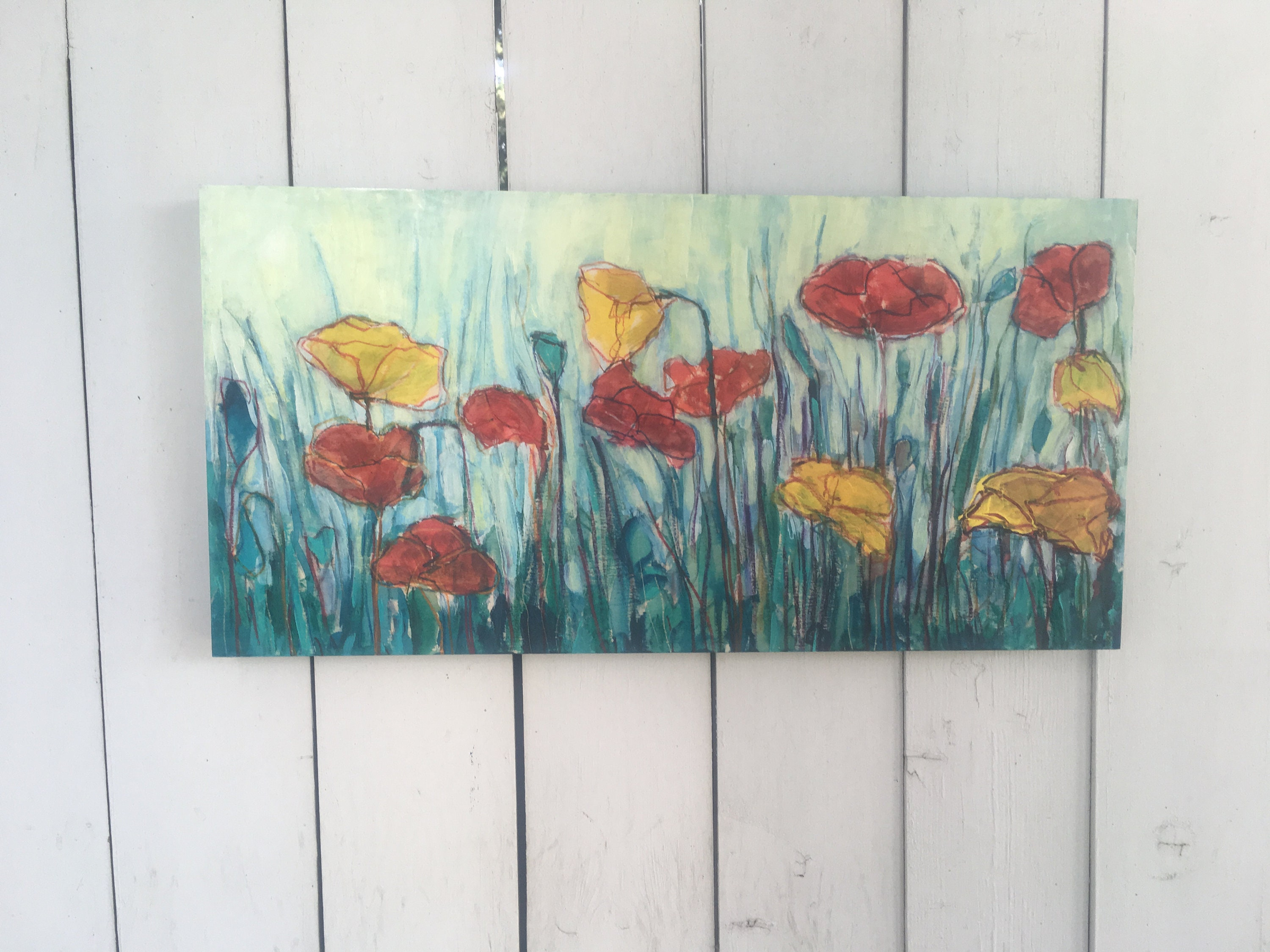 12x24 Inch Original Acrylic Painting On Birch Floral Flower