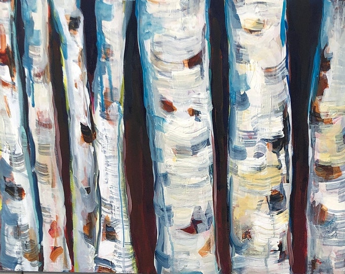 16x24 inch Acrylic on birch - Canada - Trees - we stand together