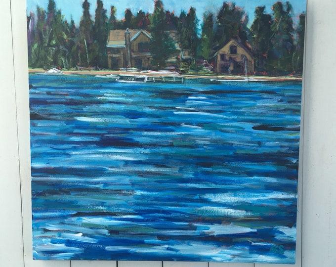 30x30 inch Acrylic Lake Landscape Painting on canvas - 'Lake side'