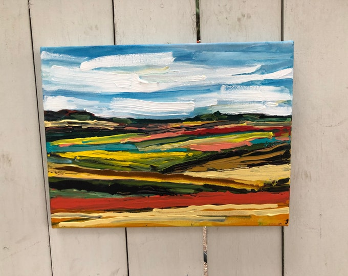 Original Abstract Landscape Painting on canvas - 12x16 inches - Driving south