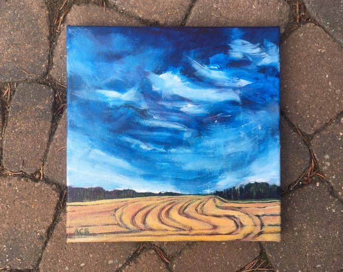 10x10 inch Original Acrylic Prairie landscape painting on canvas (ready to hang) - 'Making Plans'