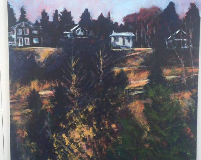 30x30 inch Original Acrylic Landscape Painting on canvas - 'looking back I (Ada Boulevard)