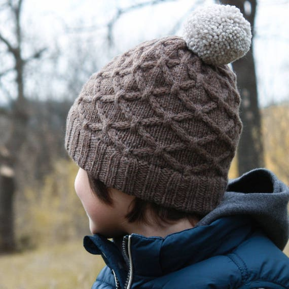 Knitting Pattern Hurst Cabled Hat Toddler Child And Adult Etsy