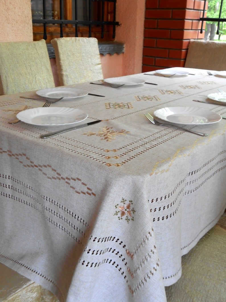 Etsy & Linen embroidered tablecloth large linen table cloth organic handmade table cover silk embroidery rustic cottage chic eco friendly