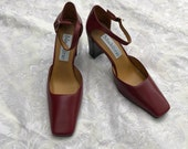 Red or Camel Madeline Stuart New Heels, Block Retro Ankle Strap Pumps, Size 7.5 Unworn Leather Shoes