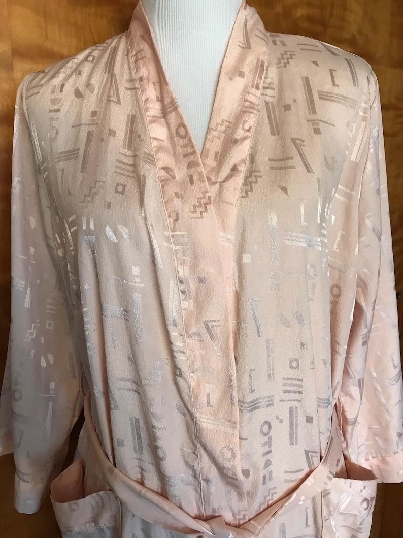 Light Pink Blush Robe Size Medium or Large Vintage Peach Robe Long Robe Retro Robe