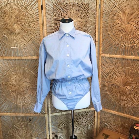 Chambray Bodysuit, Long Sleeve Bodysuit, Blue Bod… - image 1