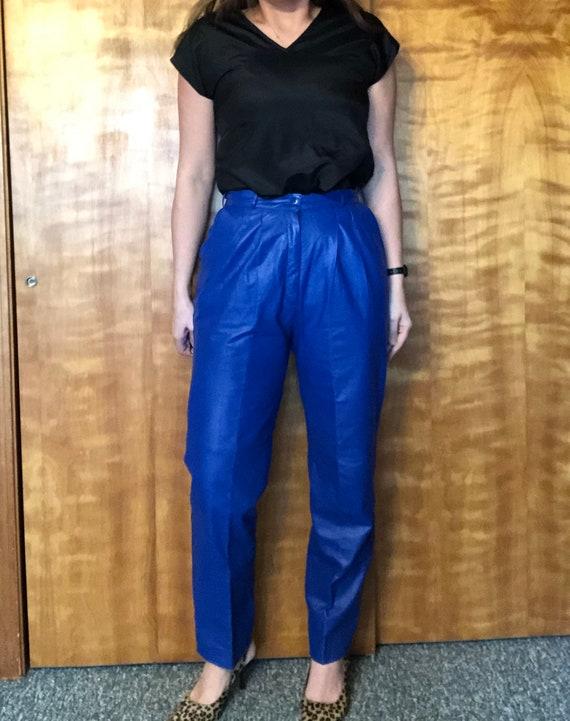 Vintage Blue Leather Pants, Eighties High Rise Lea