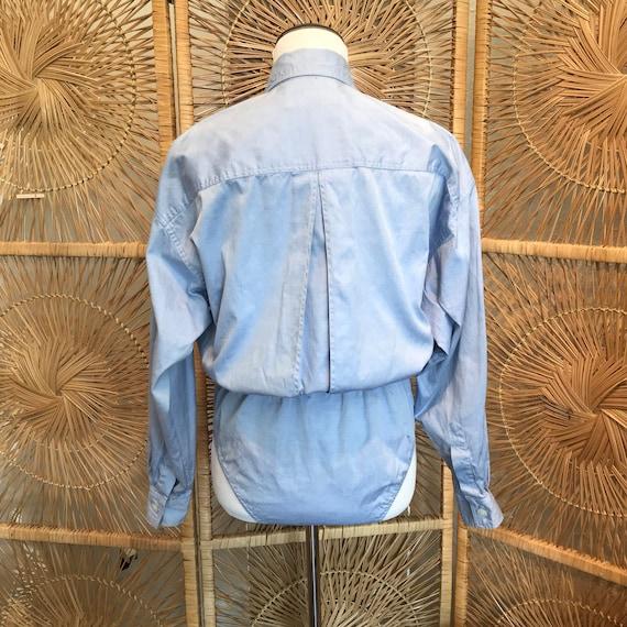 Chambray Bodysuit, Long Sleeve Bodysuit, Blue Bod… - image 6