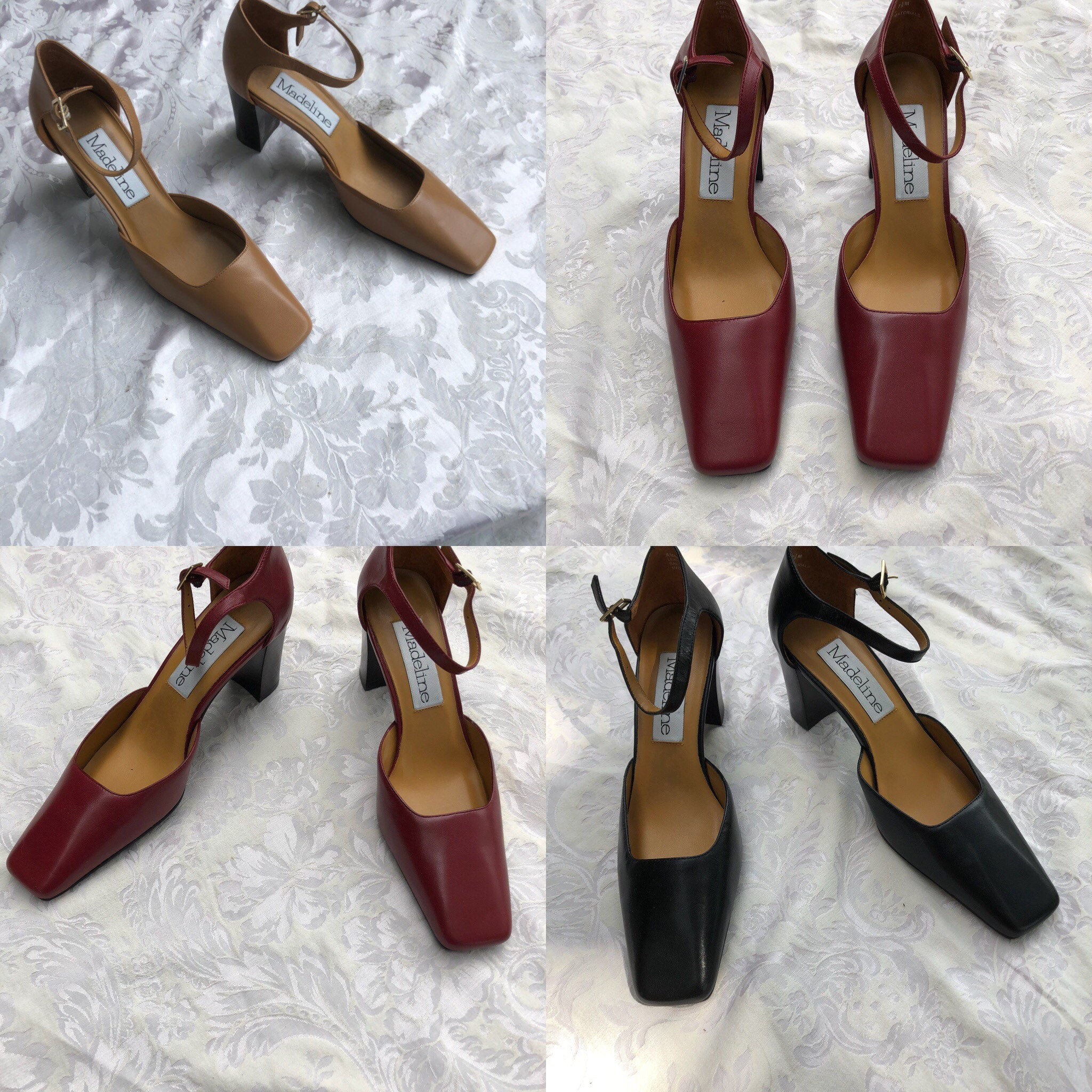 e33a918dd7993 Red Camel or Black Madeline Stuart New Heels Block Retro