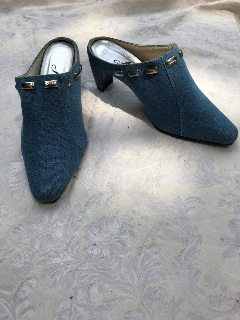 b65208b81fd4f Nineties Denim Mules, Retro Blue Jean Shoes, Size 7.5, Light Blue and  Silver Shoes, Studded, Brand Annie