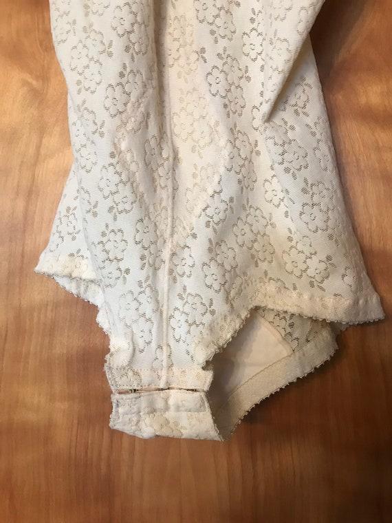 Deadstock Cream Bodysuit, Mesh Bodysuit, Floral B… - image 4