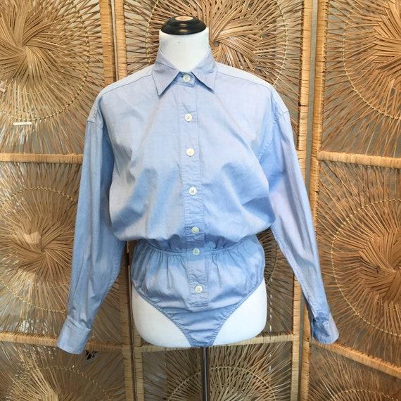 Chambray Bodysuit, Long Sleeve Bodysuit, Blue Bod… - image 2